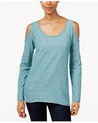 Style & Co. | Blue Petite Space-dye Cold-shoulder Top | Lyst