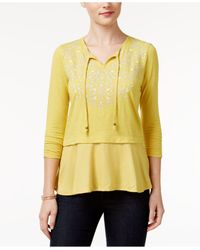 Style & Co. | Yellow Petite Embroidered Layered-look Peasant Top | Lyst
