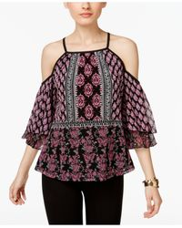 INC International Concepts | Multicolor Printed Cold-shoulder Peasant Top | Lyst
