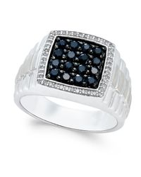 Macy's | Metallic Men's Black Sapphire (1 Ct. T.w.) And White Sapphire (1/5 Ct. T.w.) Ring In Sterling Silver for Men | Lyst