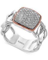 Effy Collection | Metallic Diamond Pavé Ring (1/4 Ct. T.w.) In Sterling Silver And 14k Rose Gold | Lyst