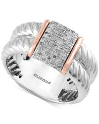 Effy Collection - Metallic Diamond Pavé Ring (1/6 Ct. T.w.) In Sterling Silver And 14k Rose Gold - Lyst