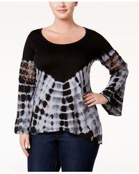 Jessica Simpson - Black Trendy Plus Size Laurine Tie-dyed Top - Lyst
