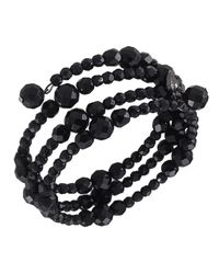 Carolee - Black Bracelet, Jet Bead Three Row Stretch - Lyst