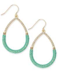 ABS By Allen Schwartz | Green Gold-tone Teal Wire-wrapped Teardrop Earrings | Lyst