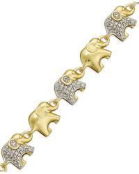 Macy's - Metallic Sterling Silver-plated Diamond Accent Linked Elephant Charm Bracelet - Lyst