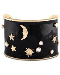 RACHEL Rachel Roy   Metallic Gold-tone Epoxy Crystal Celestial Wide Cuff Bracelet   Lyst