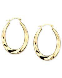 Macy's - Metallic Oval Swirl Hoop Earrings In 10k Gold - Lyst