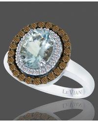 Le Vian | Multicolor Aquamarine (1-2/5 Ct. Chocolate Diamond (1/2 Ct. T.w.) And White Diamond Accent Oval Ring In 14k White Gold | Lyst