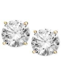 Macy's | Metallic Diamond Stud Earrings (1/2 Ct. T.w.) In 14k White Or Yellow Gold | Lyst