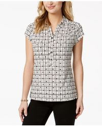 Charter Club Black Print Polo Top, Created For Macy's