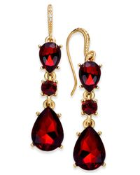 Charter Club | Gold-tone Red Stone Triple Drop Earrings | Lyst