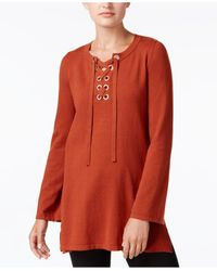 Style & Co.   Red Lace-up Tunic Sweater   Lyst