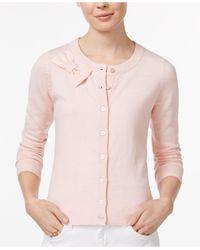 Maison Jules - Pink Bow Cardigan - Lyst