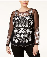 INC International Concepts | Multicolor Plus Size Embroidered Illusion Top | Lyst