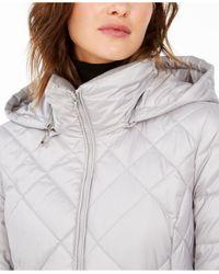 Marc New York Gray Diamond Quilt Hooded Puffer Coat