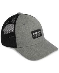 Adidas Originals Trefoil Heather Gray & Black Mens Trucker Hat for men