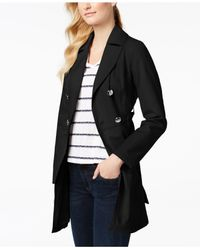 Laundry by Shelli Segal - Black Belted Skirted Trench Coat - Lyst