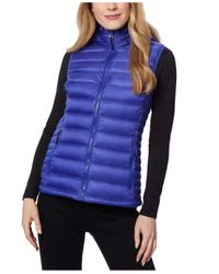 32 Degrees Blue Packable Hooded Down Puffer Vest, Created For Macy
