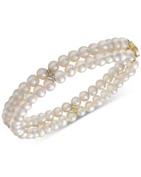 Macy's Metallic 14k Gold Cultured Freshwater Pearl (5mm) & Diamond Accent Bracelet