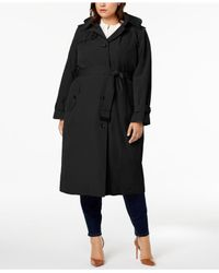 London Fog - Black Plus Size Hooded Trench Coat - Lyst