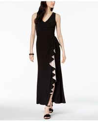 Betsy & Adam Black Petite Sleeveless Ruffled Gown