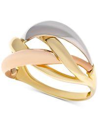 Macy's - Metallic Tri-color Interlocking Ring In 14k Gold, White Gold & Rose Gold - Lyst