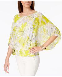 Alfani Yellow Printed Chiffon Top, Created For Macy's