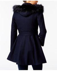Laundry by Shelli Segal - Black Faux-fur-trim Skirted Coat - Lyst