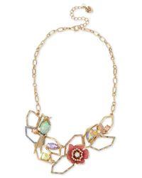 Betsey Johnson   Metallic Gold-tone Multi-stone Geometric Floral Statement Necklace   Lyst