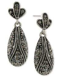 2028 - Metallic Two-tone Gray Pavé Drop Earrings - Lyst