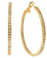 Hint Of Gold - Metallic 14k Gold-plated Earrings, Crystal Hoop Earrings - Lyst