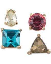 ABS By Allen Schwartz - Metallic Gold-tone 4-pc. Set Stone Single Stud Earrings - Lyst