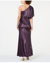 Adrianna Papell Blue One-shoulder Ruched Metallic Gown
