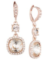 Givenchy - Pink Rose Gold-tone Cushion Double Drop Earrings - Lyst
