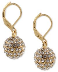 Charter Club - Metallic Gold-tone Pavé Ball Drop Earrings, Created For Macy's - Lyst