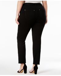 INC International Concepts Black Plus Size Skinny Ponte Pants, Only At Macy's