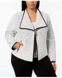 557dd023b1 Lyst - Calvin Klein Plus Size Line-detail Flyaway Jacket in Gray
