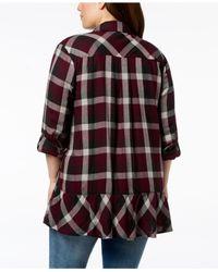 Style & Co. - Multicolor Plus Size Cotton Plaid Peplum-hem Cardigan, Created For Macy's - Lyst