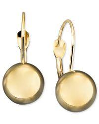 Macy's | Metallic 10k Gold Earrings, Ball Leverback | Lyst