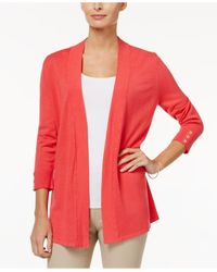 Charter Club | Red Open-front Honeycomb-stitch Cardigan | Lyst