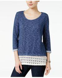 Style & Co. | Blue Lace-hem Cuffed-sleeve Top | Lyst