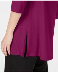 Eileen Fisher Purple Boat-neck Vented-hem Tm Top, Regular & Petite
