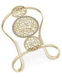 INC International Concepts - Metallic Gold-tone Filigree And Pavé Wide Cuff Bracelet - Lyst