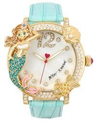 Betsey Johnson Metallic Women's Mermaid & Fish Gold-tone Mint Green Leather Strap Watch 44mm