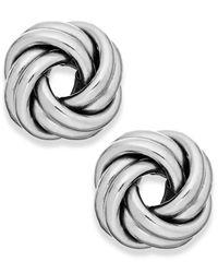 Macy's Metallic Love Knot Stud Earrings In 18k White Gold