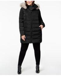 DKNY - Black Plus Size Faux-fur-trim Puffer Coat - Lyst