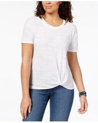 Style & Co. Blue Cutout High-low T-shirt, Created For Macy's