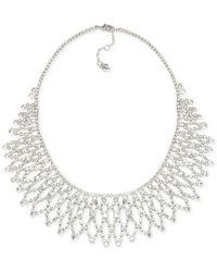 Carolee Metallic Silver-tone Crystal Bib Frontal Necklace