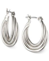 Nine West Metallic Rose Gold-tone Twisted Hoop Earrings